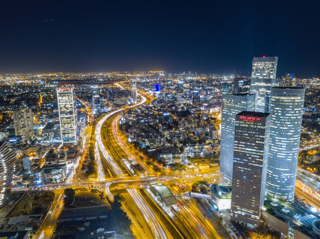 Silicon Wadi 2018: a shot Tel-Aviv at night from above