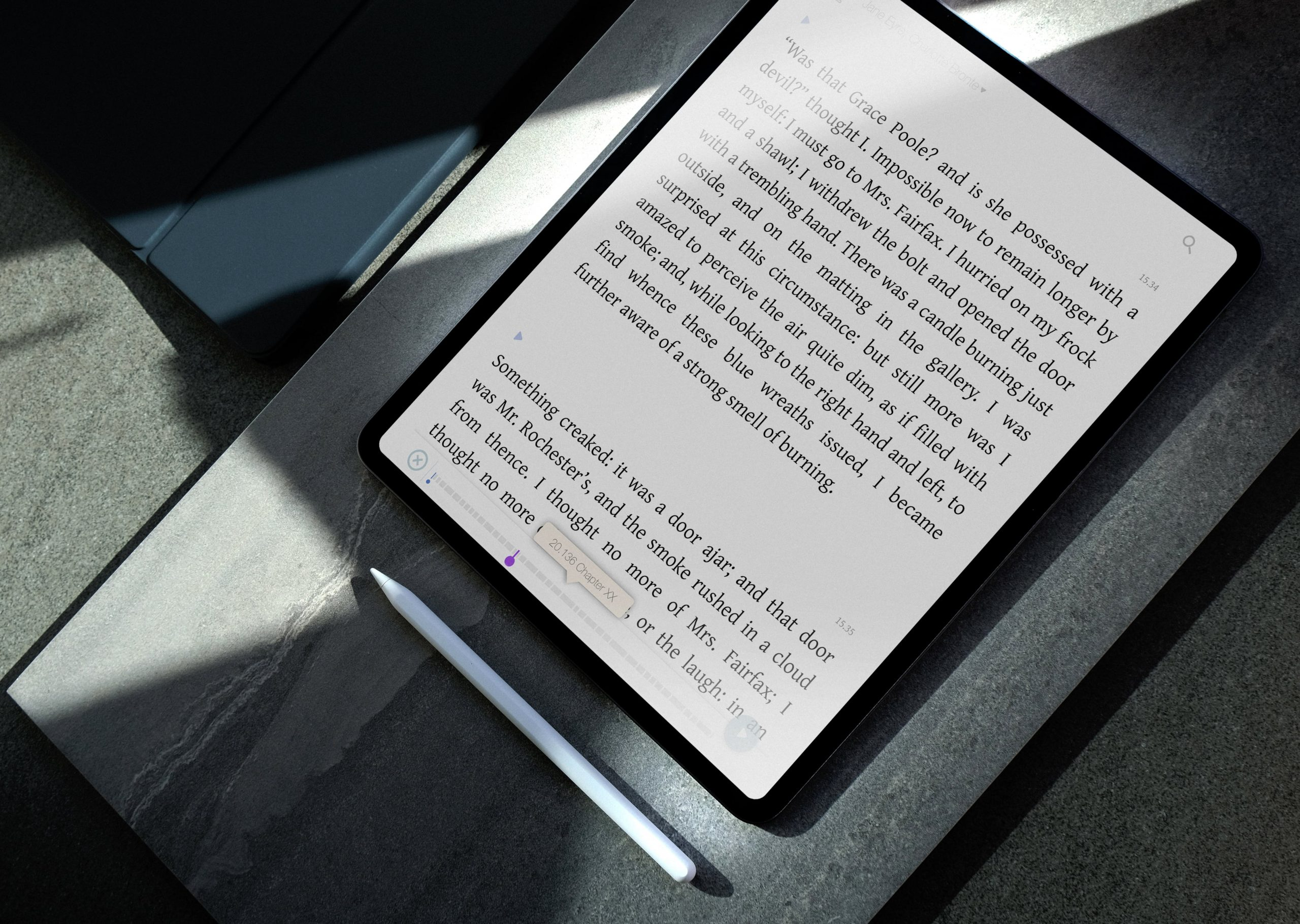 A piece of tex in WholeReader application on a tablet screen