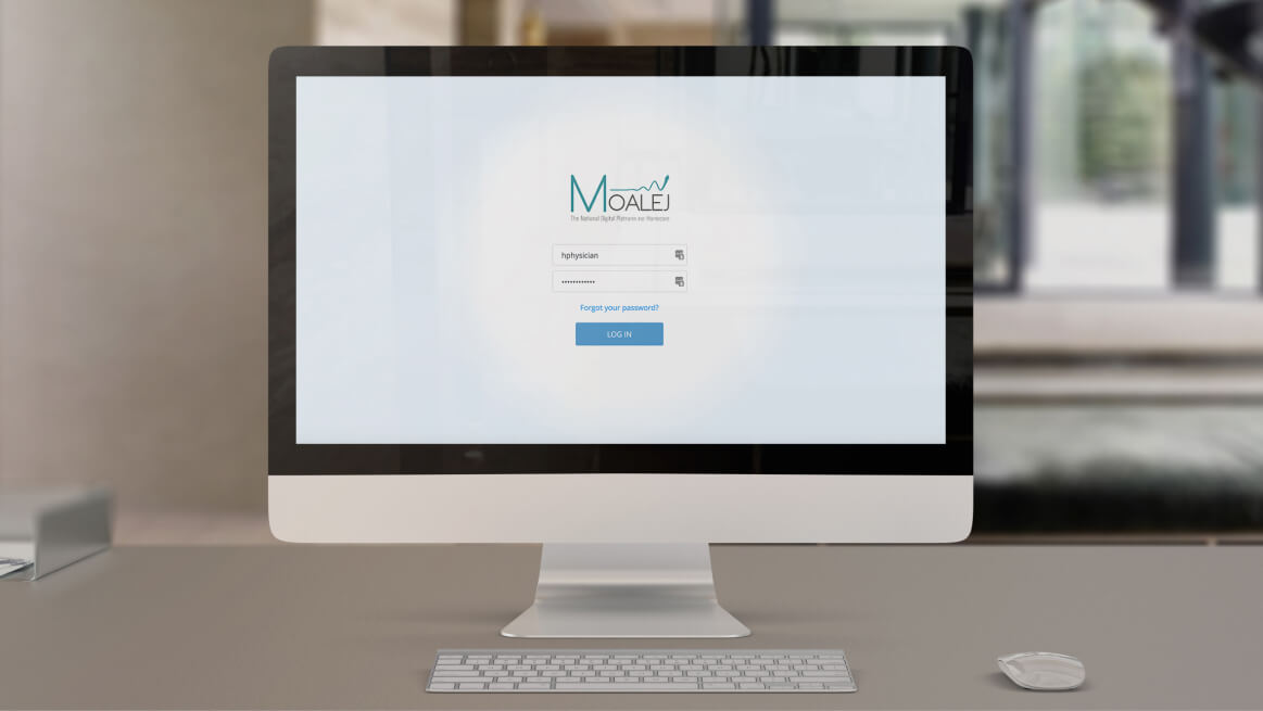 Moalej login screen on a monitor