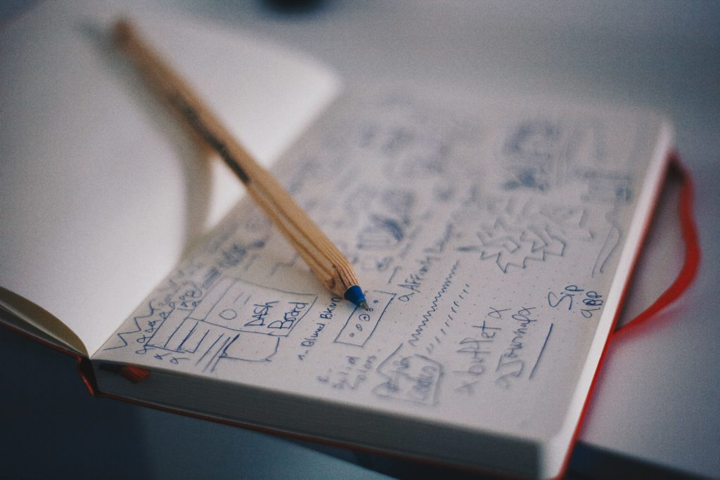 Business analysis workflow: drafting requirements in a notebook