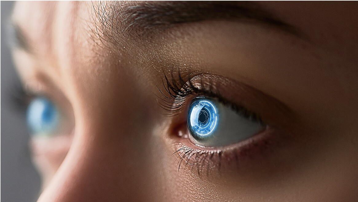 Facial Recognition System scan's bright-blue eyes