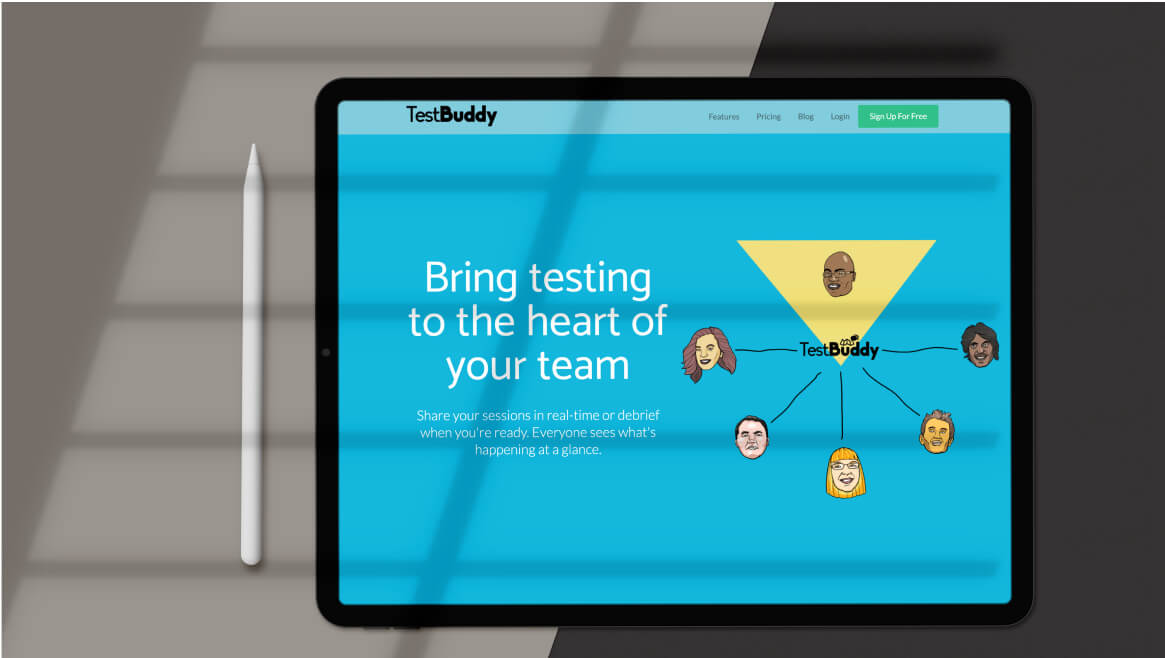 TestBuddy webpage on a screen of a tablet