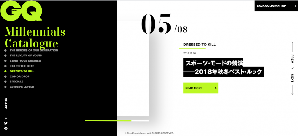 Trends of 2020 in UI and UX design: a screenshot of GQ Japan webpage with an asymmetrical layout